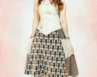 Gretel Skirt by Mother Grimm pdf Jersey adult sewing pattern, pocket panel skirt, flared A-line