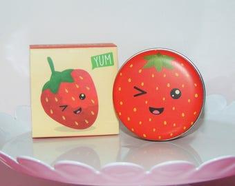 Super Cute Yummy Strawberry Flavored Lip Balm Tin