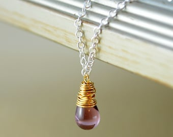 Simple Necklace, Purple Glass Teardrop Pendant, Wire Wrapped, Silver Plated and Gold Mixed Metal Jewelry