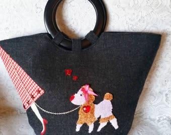 Vintage Style, Poodle Purse, Handbag, Paris Poodle on a Leash, Beautiful, in Minty Condition