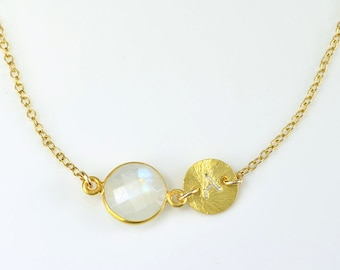 Personalized mother of the bride gift, June Birthstone necklace, Custom initial necklace, rainbow moonstone necklace, bridesmaid necklace