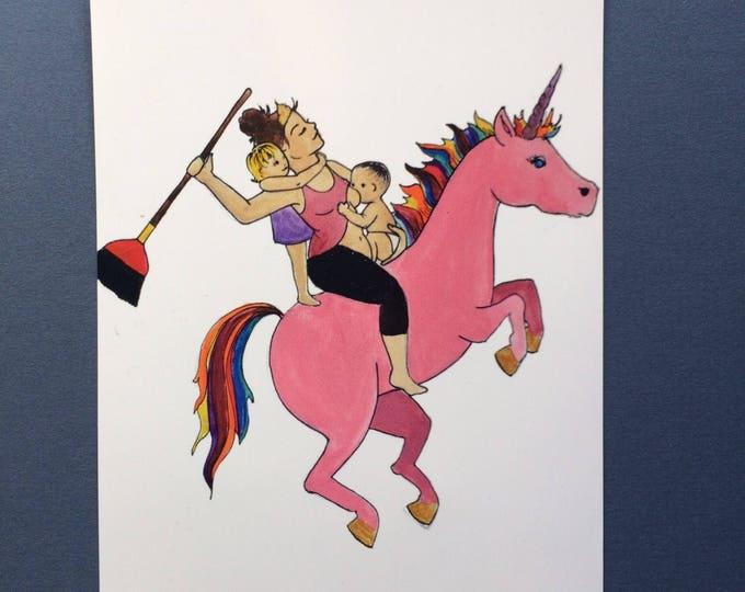 """UNICORN Magnet/ 4"""" x 5""""/ Fridge magnet/ unicorn art / breastfeeding art/ gift for mom"""