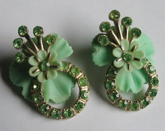 Vintage Truly One Of A Kind Celadon Green Plastic with Rhinestones Earrings