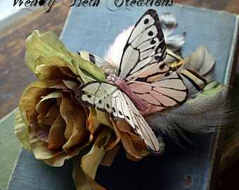Sage Rose Butterfly Hair Clip Fascinator - Belly Dance, Cosplay, Fairy, Renaissance Festival, Pink, Wedding, Pin Up, Rose