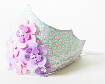 Floral fabric and lace birthday crown with felt and pearl flowers