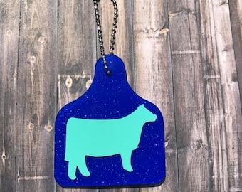 Show cow ear tag, Ear Tag, Cow ear tag, Ear tag key chain, Ear tag cow, Show Cow, Heifer, Steer, Cow, Calf, Cattle, Ear Tag, Key chain