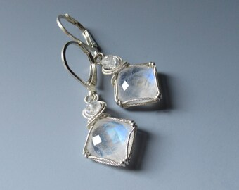 Faceted Moonstone Blue Flash Earrings. Wire Wrapped Sterling Silver Gemstone Earrings. Romantic Gift.