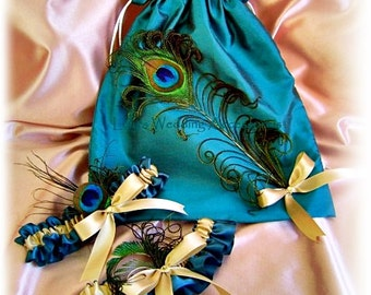Peacock weddings Teal and Gold bridal garter set and drawstring bag, wedding dollar dance bag and garters