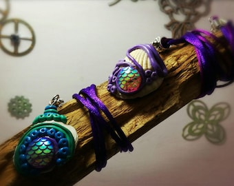 Mermaid scale over a shell necklace