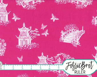 HOT PINK BUTTERFLY Fabric by the Yard Fat Quarter Bridge & Butterfly Pink Fabric Floral Quilt Fabric 100% Cotton Fabric Apparel Fabric a1-17