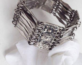 For Her, Wide Silver Bracelet, Silver Link Bracelet, Mexican Silver  Bracelet, Silver Link Bracelet, Statement Bracelet, Vintage Bracelet