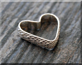 Add a Charm, Sterling Silver Open Heart Pendant, Snake Skin Texture Silver Heart Charm, Hand Forged Floating Heart Charm, Open Heart Charm