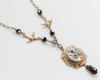 Steampunk Necklace Vintage Silver Watch Movement with Amethyst & Black Crystal, Gold Bird Charms Filigree Statement Necklace Jewelry Gift