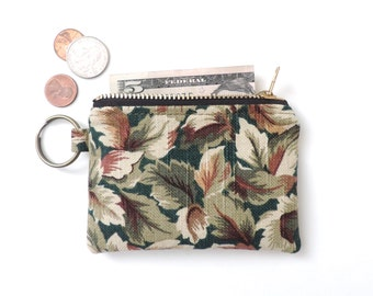 Keychain Coin Purse Slim Wallet Zipper Pouch Leaves