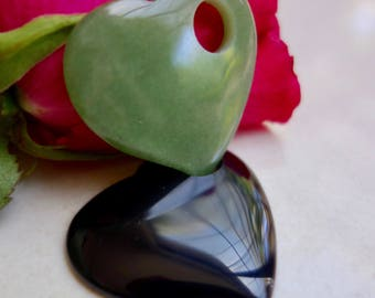 Natural stone heart. Jade and