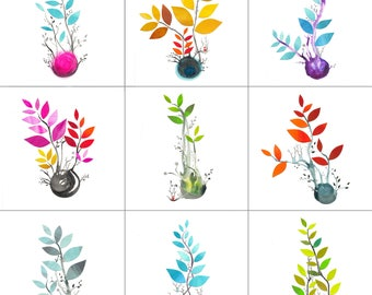 Collage Seedlings -  Note Card Bundle
