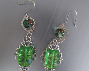 Green Victorian Earrings