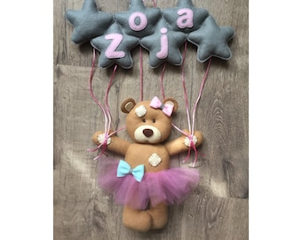 Wall  Decoration with NAME - RETRO Bear with stars