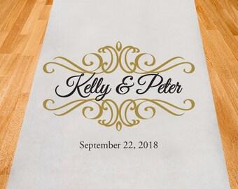 Ornate Design Border Personalized Aisle Runner - Wedding Ceremony Aisle Runner (ppd1-D)