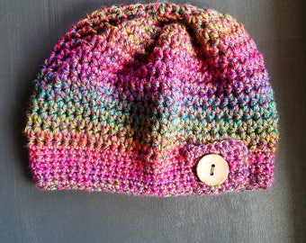 Slouchy Adult Hat - Rainbow - Crochet