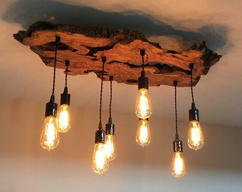 Create your own custom small live edge wood slab light fixture medium live edge olive chandelier light fixture with edison bulbs industrial contemporary mozeypictures Gallery