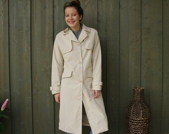 Womens Light Beige Trench Coat Classic Beige Overcoat Raincoat Size Small