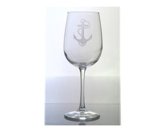Anchor Wine Glass / Free Personalization / Nautical 16 oz Wine Glass / Red or White Wine Glass / Personalized Glass / Personalized Gift
