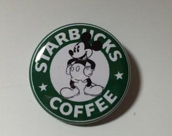 Mickey Mouse, Goofy, Donald Duck Disney Starbucks Coffee Style  Pin Badge Button