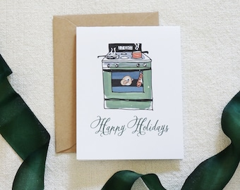 Watercolor Holiday Card, Christmas Card Set, Holiday Cards, Modern Calligraphy, Scenery, Chef Holiday Card, Cooking, Home for the Holidays