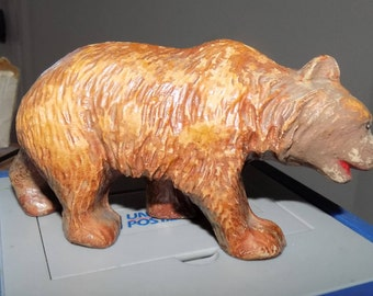 Vintage Resin Made Grizzly Bear Figurine See Pic