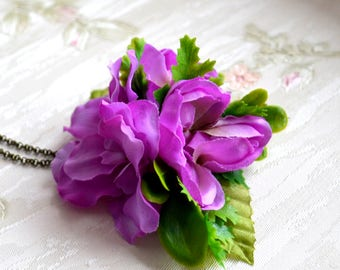 Purple Flower necklace Boho necklace Botanical necklace Floral Purple necklace Bohemian jewelry Long necklace vintage style Rustic jewelry
