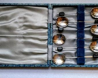 Coffee Spoons Vintage Black Coffee Bean Spoon Set EPNS Silver Plate in Original Box Art Deco