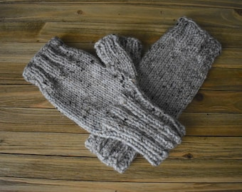 Knit Fingerless Gloves Texting Gloves Gray Brown Tweed Winter