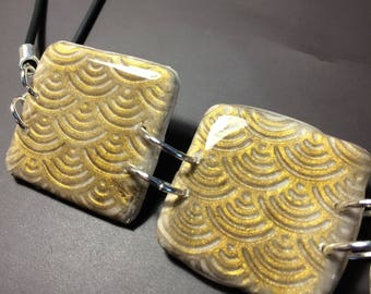 Japan inspired gold pendant