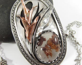 Autumn in the Tropics Necklace - Sterling Silver and Copper Heliconia with Phantom Quartz