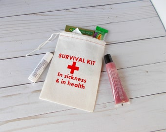 Survival Kit, Bachelorette Party, Hotel Gift Bags, 4x6 Cotton Muslin Pouches, Wedding Swag Bag, DIY Hangover Kit