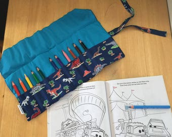 Dinosaur Fabric Pencil Storage Roll/wallet - A fantastic way to keep your kids' pencils safe and organised for home or school.