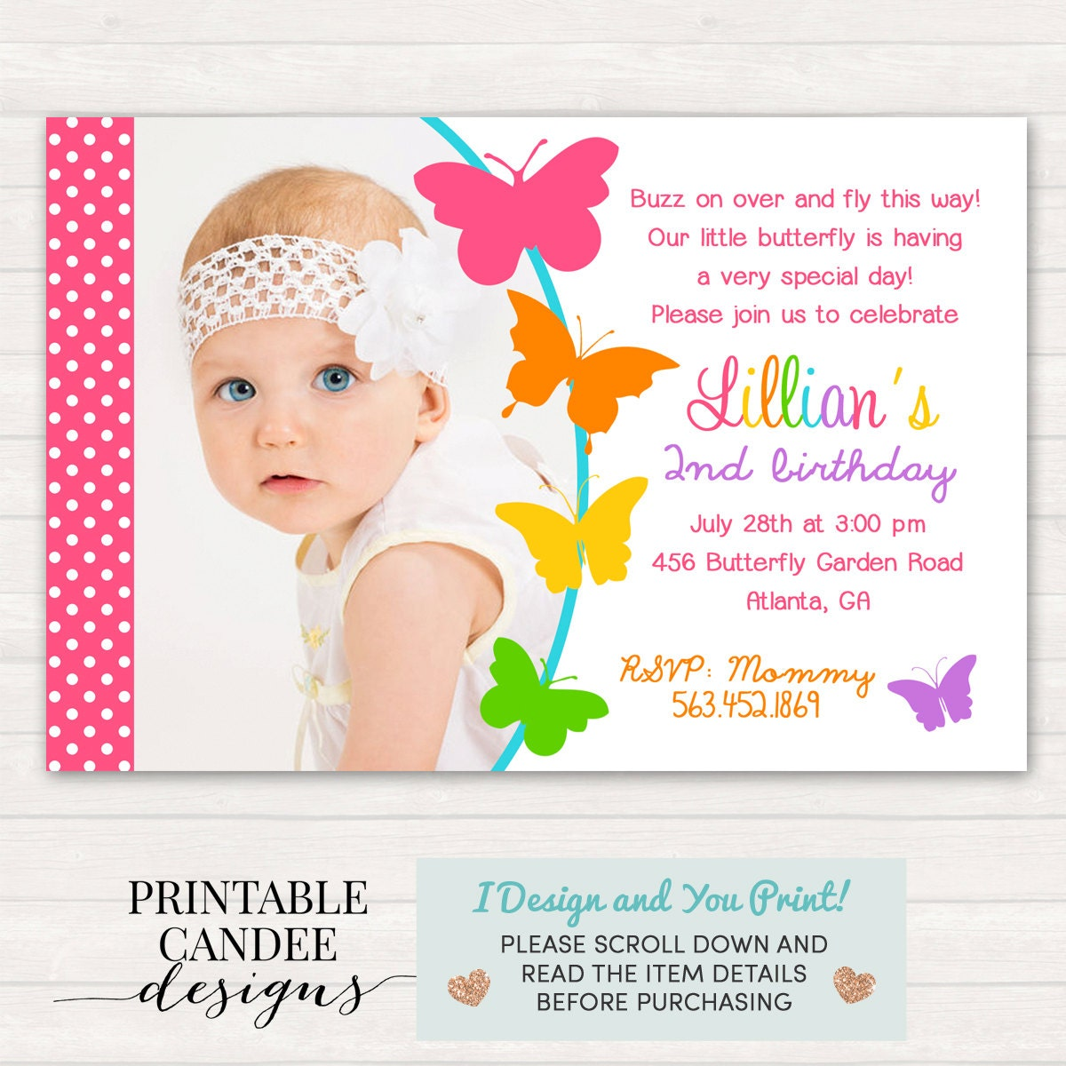 Butterfly Birthday Invitation Butterfly Birthday Butterfly