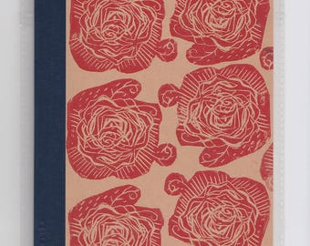 Red Rose Lino Print Lined Notebook // A5 Recycled Kraft Notepad