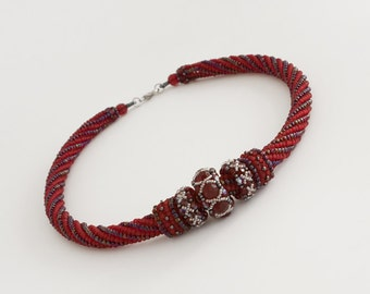 Garnet Red and Blue Beaded Rope Necklace with Interchangeable Beaded Bead Pendants with Swarovski Crystals in Red, Dark Blue and Silver S185