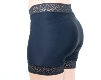 Black Biker Shorts Leopard Lace Trim Modesty Shorts Short Dress Underwear