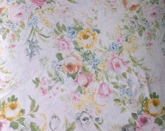Lauren Ralph Lauren White U0026 Pink Rose Floral Print Double Full Size Fitted Bed  Sheet   100% Cotton
