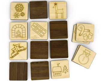 Homeschool - Christmas - Memory Game - Toddler Toys - Matching - Wood Toys - Stocking Stuffer