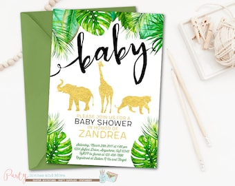 Safari Baby Shower Invitation, Jungle Baby Shower Invitation, Animal Baby Shower Invitation, Jungle Invitation, Safari Invitation