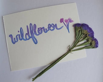 "Wall Art Decor ""Wildflower"" - Dorm Decor - Bedroom Decor - Cheap Gifts For Her Mom Sister Friend Aunt - Watercolor Brush Lettering"