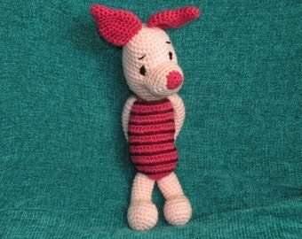 PDF - Piglet the Winnie the Pooh's friend 12.5 inches / 31 cm amigurumi doll crochet pattern Available in English or Spanish language