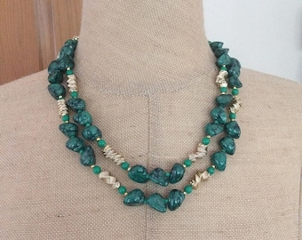 Final Green and Gold Bead Double Strand Vintage Necklace