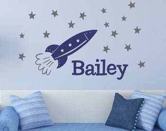 Space Wall Decal | SPACE Rocket Name LARGE  | Vinyl Wall Decal Space Theme Wall Decal Teen and Nursery Wall Decal | Rocket Space Decal C103