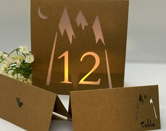 MOUNTAIN TABLE Numbers • Rustic Place Cards • Table Number Luminaries • Rustic Wedding Decor • Table Number • Rustic Blank Place Cards