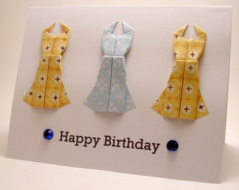Mini Origami Dress Birthday Card (blue, yellow)